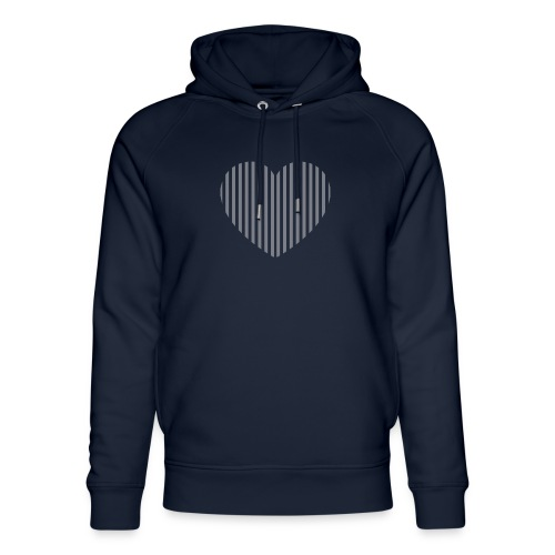heart_striped.png - Unisex Organic Hoodie by Stanley & Stella
