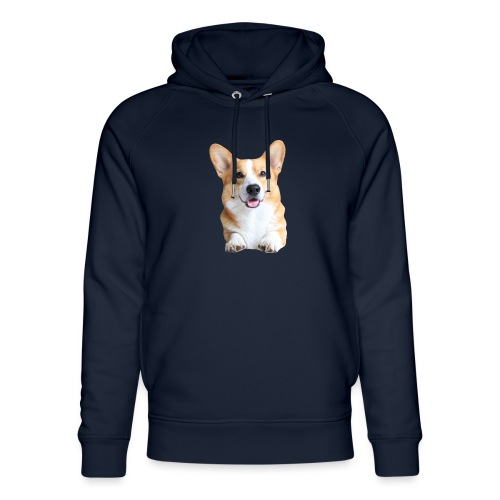 Topi the Corgi - Frontview - Unisex Organic Hoodie by Stanley & Stella