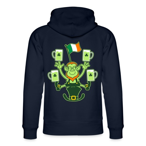 Leprechaun Juggling Beers and Irish Flag - Unisex Organic Hoodie by Stanley & Stella