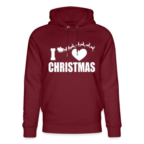 I Love Christmas Heart Natale - Felpa con cappuccio ecologica unisex di Stanley & Stella