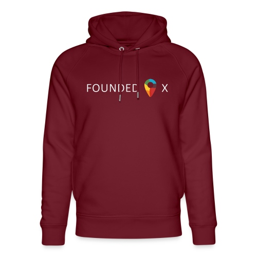 FoundedX logo white png - Unisex Organic Hoodie by Stanley & Stella