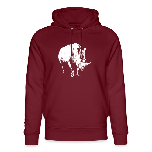 White Rhinoceros (highlights only) - Unisex Organic Hoodie by Stanley & Stella