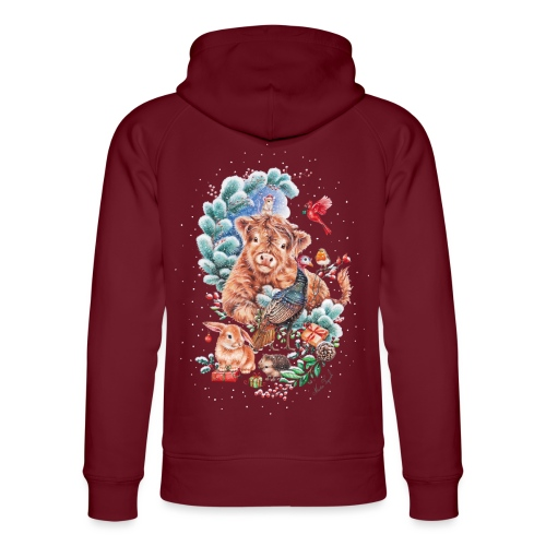 Vegan Christmas with cow and turkey. - Unisex Organic Hoodie by Stanley & Stella