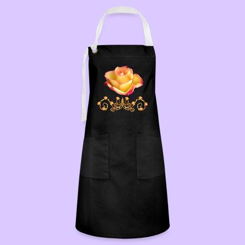orange Rose, Ornament, Rosen, Blumen, Blüten, edel - Kontrastschürze