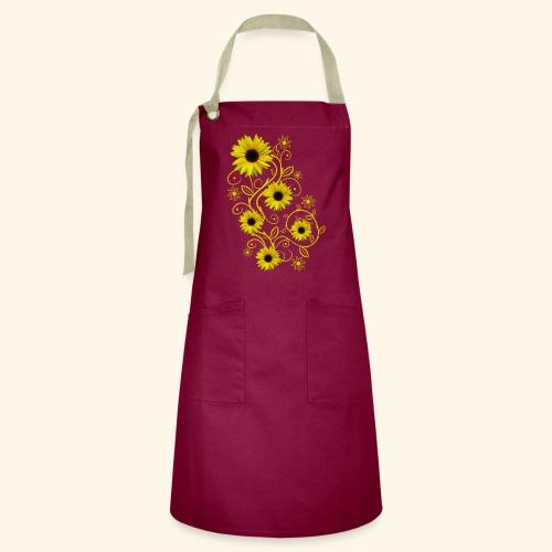 gelbe Sonnenblumen, Ornamente, Sonnenblume, Blumen - Kontrastschürze
