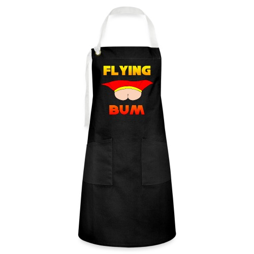 Flying Bum (face on) with text - Artisan Apron