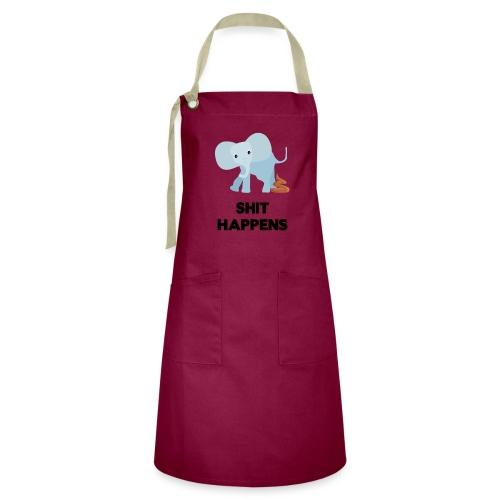olifant met drol shit happens poep schaamte - Contrasterende schort