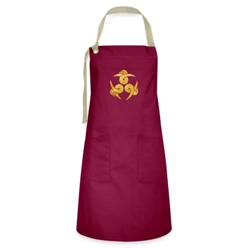 Three Geese Japanese Kamon in gold - Artisan Apron