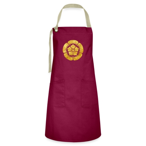 Oda Mon Japanese samurai clan faux gold on black - Artisan Apron
