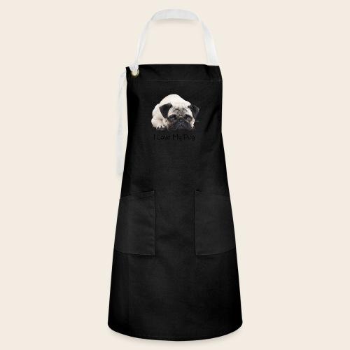 love my pug - Kontrastschürze
