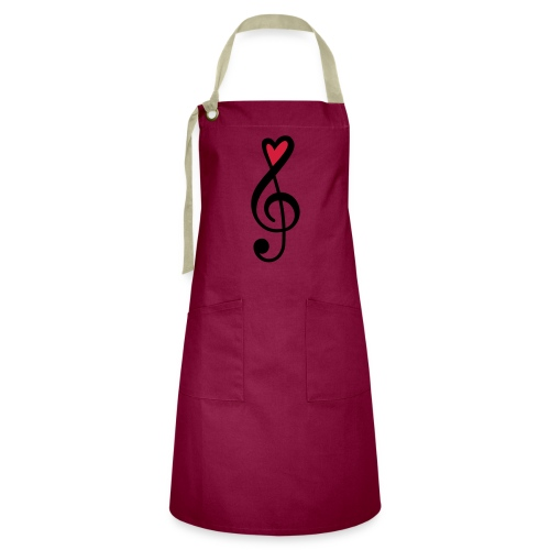Notenschlüssel Herz rot Musik - Kontrastschürze