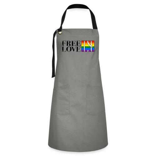 Free Love Rainbow Flag Freie Liebe - Kontrastschürze