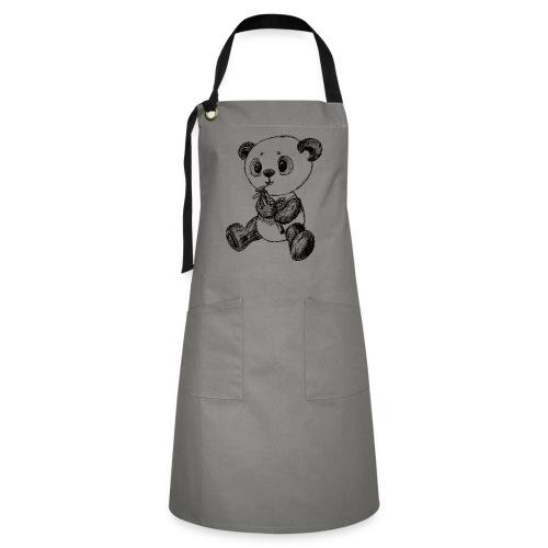 Panda bear black scribblesirii - Artisan Apron