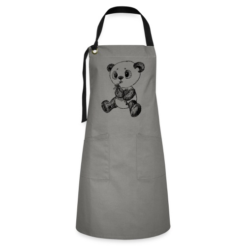 Panda bjørn sort scribblesirii - Kontrastforklæde