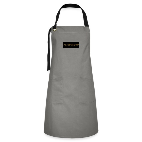 orange writing on black - Artisan Apron