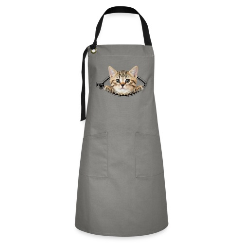 Vorschau: cat zipper pocket - Kontrastschürze