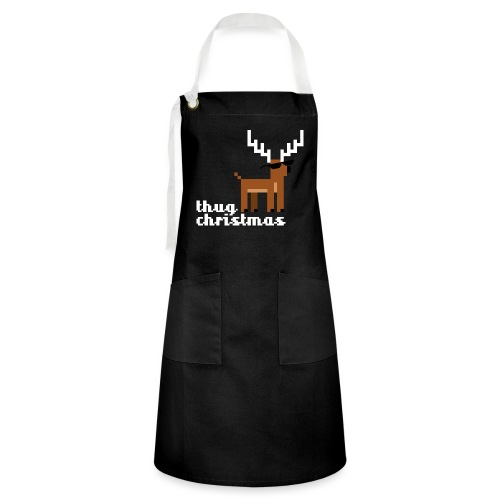 Christmas Xmas Deer Pixel Funny - Artisan Apron