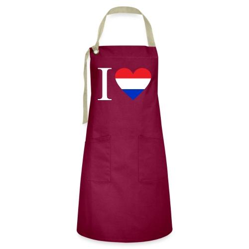Ik hou van Nederland   Hart met rood wit blauw - Contrasterende schort