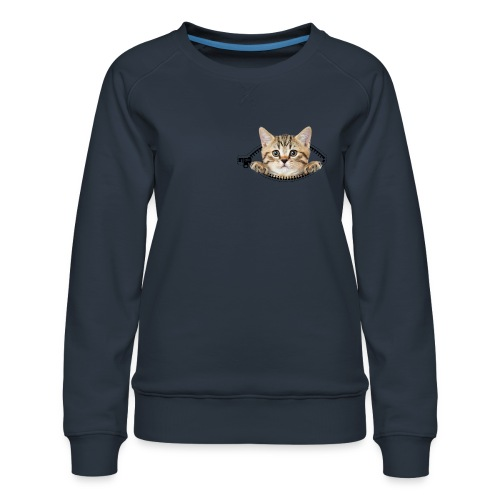 Vorschau: cat zipper pocket - Frauen Premium Pullover