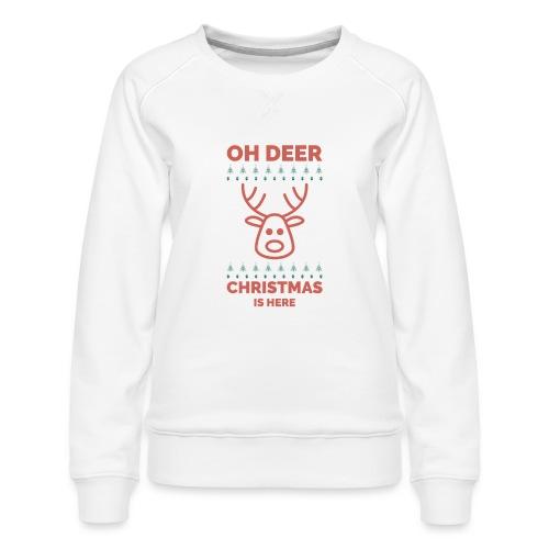morsom julegenser - Oh deer, Christmas is here - Premium-genser for kvinner