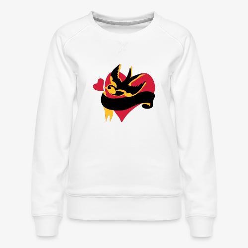 retro tattoo bird with heart - Women's Premium Sweatshirt
