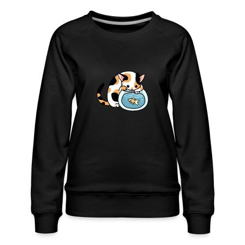Katze mit Fisch im Glas - Frauen Premium Pullover