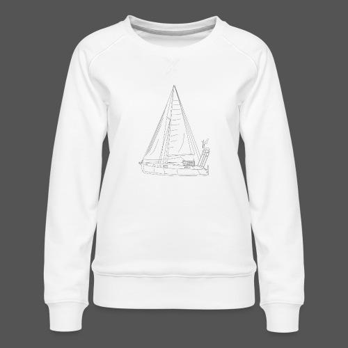 Zeichnung Segelboot Segel hoch - Frauen Premium Pullover