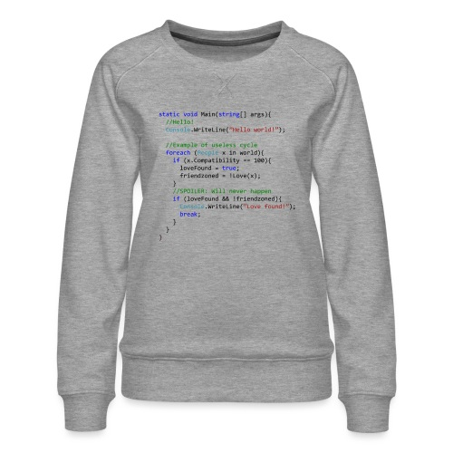 Love seen by a C# programmer - Felpa premium da donna