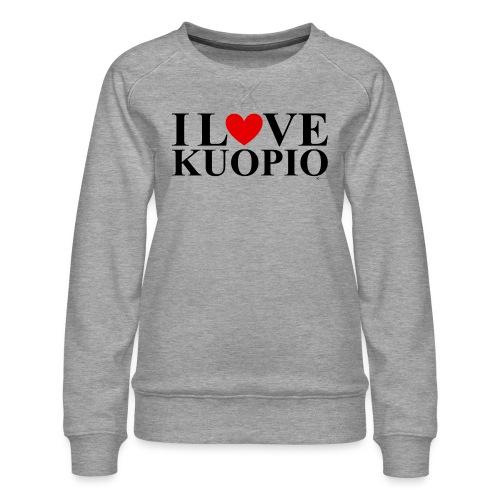 I LOVE KUOPIO (koko teksti, musta) - Naisten premium-collegepaita
