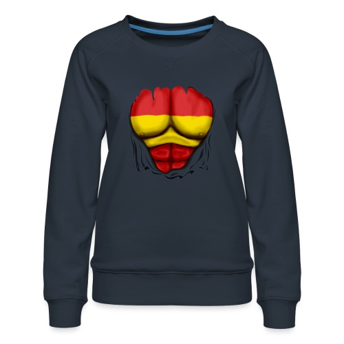 España Flag Ripped Muscles six pack chest t-shirt - Women's Premium Sweatshirt