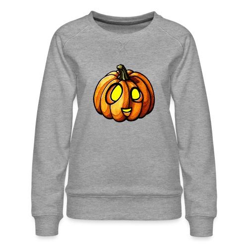 Pumpkin Halloween watercolor scribblesirii - Dame premium sweatshirt