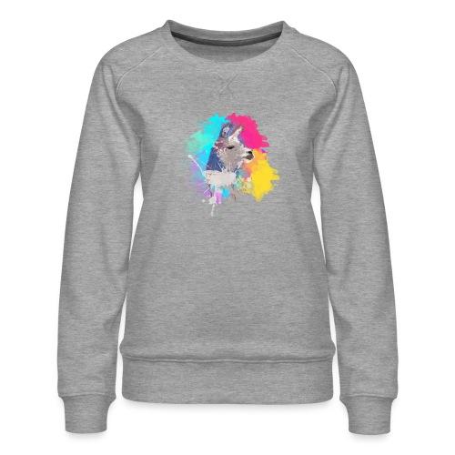 Colorful Llama - Dame premium sweatshirt