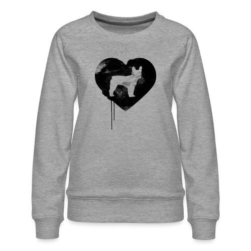 Französische Bulldogge Herz mit Silhouette - Frauen Premium Pullover