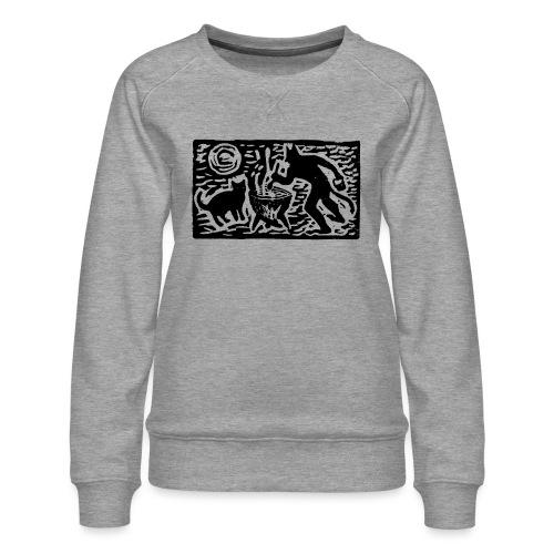 Teufel mit Katze - Frauen Premium Pullover