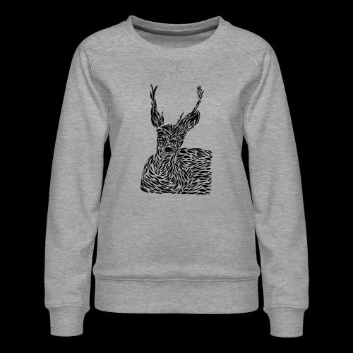 deer black and white - Naisten premium-collegepaita