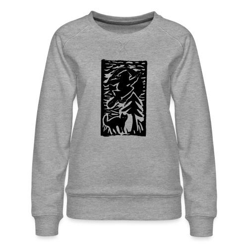 Hexe mit Katze - Frauen Premium Pullover