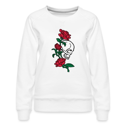 teschio e rose es123_2 - Felpa premium da donna