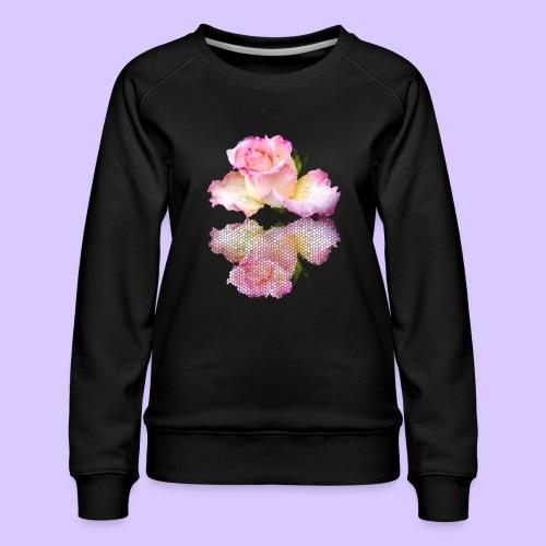 pinke Rose mit Regentropfen im Spiegel, rosa Rosen - Frauen Premium Pullover
