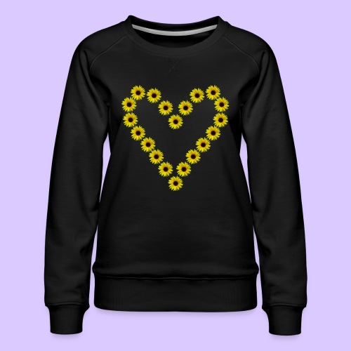 Sonnenblumenherz, Sonnenblumen, Sonnenblume, Herz - Frauen Premium Pullover