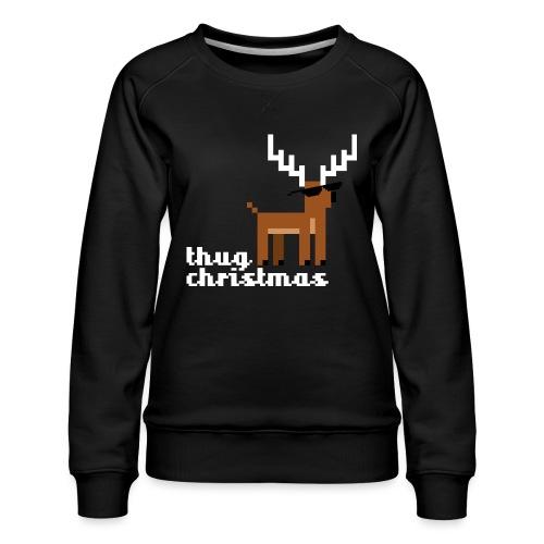Christmas Xmas Deer Pixel Funny - Women's Premium Sweatshirt
