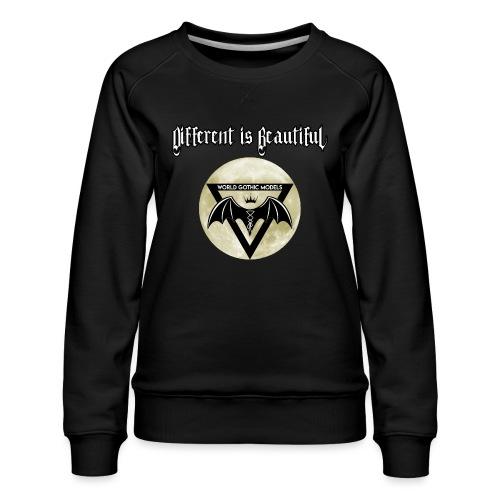 Different is Beautiful with Moon WGM Logo - Women's Premium Sweatshirt