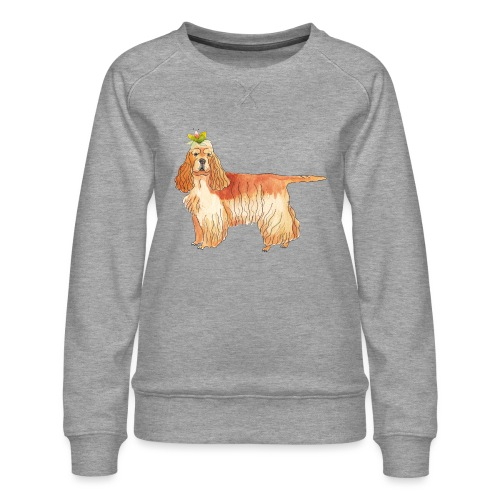 American cocker spaniel with flower - Dame premium sweatshirt