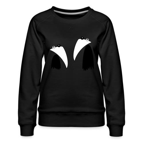 Raving Ravens - black and white 1 - Women's Premium Sweatshirt