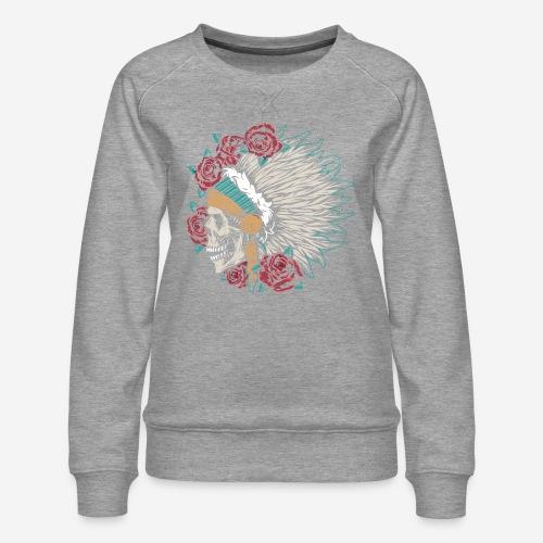 indian skull roses - Frauen Premium Pullover