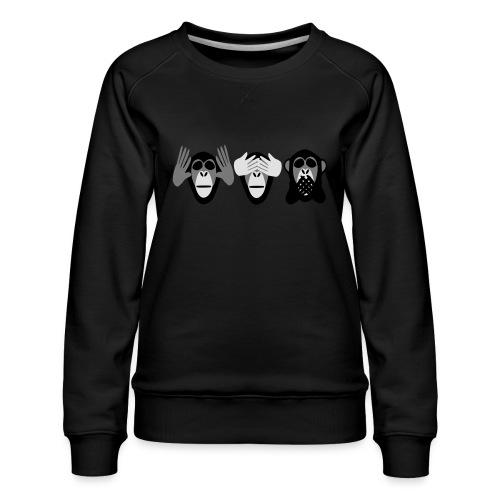 drei affen, nichts hoeren nichts sehen nichts - Frauen Premium Pullover