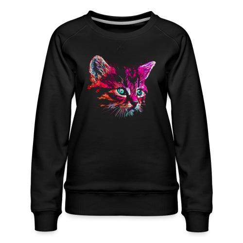 Vorschau: cat pink paint - Frauen Premium Pullover