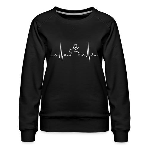 EKG Herzschlag Hase Kaninchen Zwergkaninchen - Frauen Premium Pullover