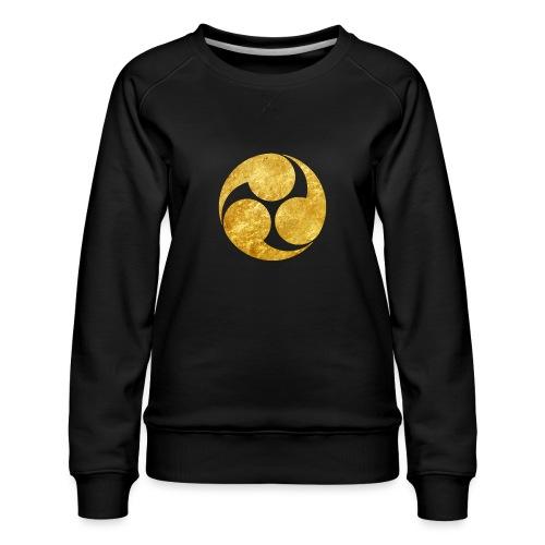 Kobayakawa Mon Japanese clan gold on black - Women's Premium Sweatshirt