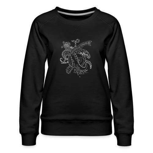 Fantasy hvid scribblesirii - Dame premium sweatshirt