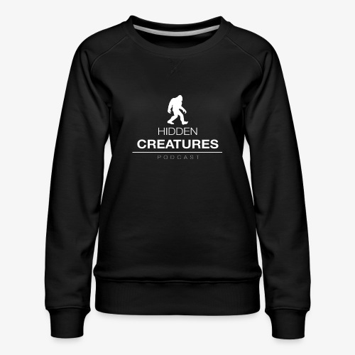 Hidden Creatures Logo White - Women's Premium Sweatshirt